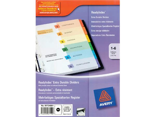 TABBLADEN AVERY READYINDEX A4 4R 6DLG